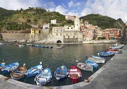 Boats in the harbor at Vernazza, Italy in the Cinque Terre