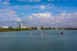 Boats in the Intracoastal Waterway in Clearwater Beach, Florida.