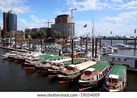 boats in the port of Hamburg (Germany)