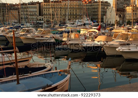 Boats in the port of Marseille