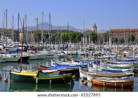 Boats in the port of Nice in southeastern France,department Alpes-maritimes, on the french riviera