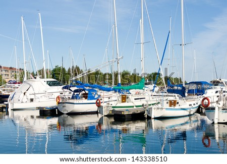 Boats in Thornbury harbor in Ontario, Canada