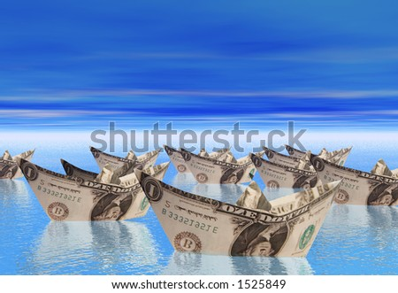 Boats made from dollars floating in a calm sea - stock photo