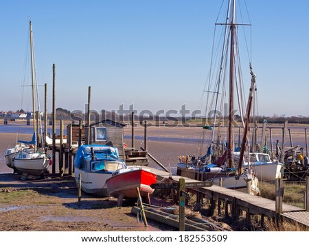 Boats moored at Skippool Creek, Lancashire, UK #182553509