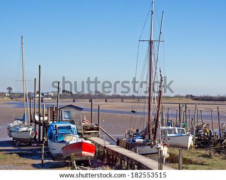Boats moored at Skippool Creek, Lancashire, UK #182553515