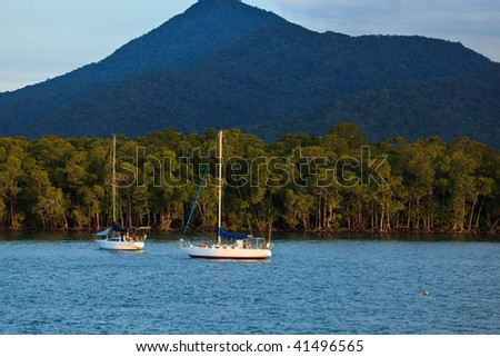 Boats Moored in Cairns Harbor Australia
