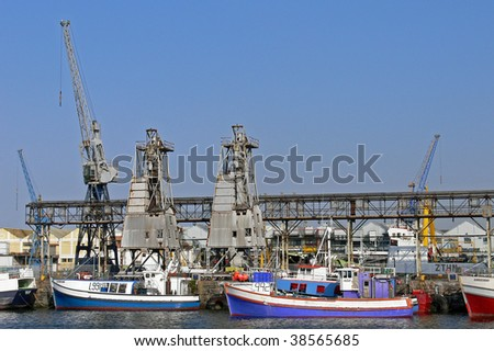 Boats moored in Cape Town docks South Africa
