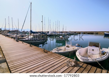 Boats moored in harbour near Polis city, Cyprus