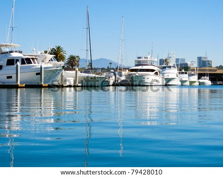 Boats moored in the bay of beautiful Newport Beach, California, USA