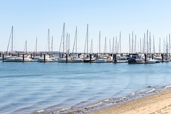 Boats moored in the yacht club in Punta Umbria harbor, Huelva, Andalusia, Spain