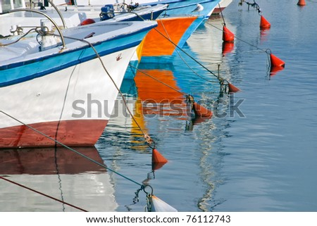 Boats moored on a sunny day at the marina in Old Jaffa, Israel. Sea background