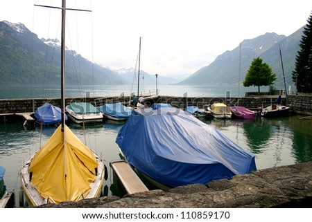 Boats moored on lake Brienz