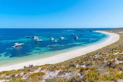 Boats mooring at Catherine bay at Rottnest island in Australia