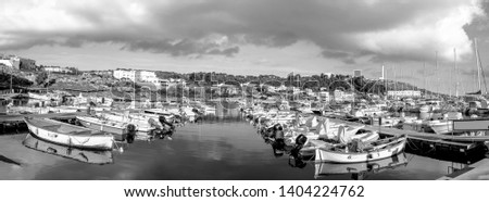 Boats mowed in the marina of Santa Maria di Leuca, large format of the image composed by the merging of three photographic shots, black and white image.