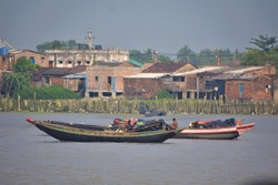 boats of the fisherman on the  Ganga river , India