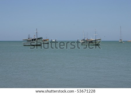 Boats off the port of Juan Griego on Isla de Margarita, Venezuela