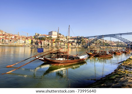 Boats on douro river in Porto Portugal
