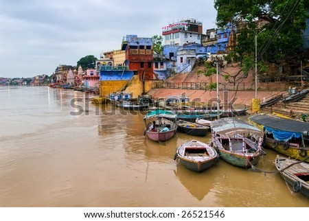 Boats on Ganges river in front of Dasaswamed Ghat, in the center of holy city Varanasi, India