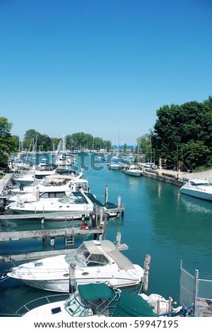 Boats on Lake Michigan, summer day