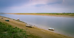 Boats on riverside next to Saint-Valery-sur-Somme France