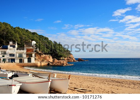 Boats on the beach at Tamariu (Costa Brava, Catalonia, Spain)