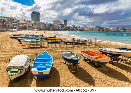Shutterstock Boats On The Beach - Las Palmas, Gran Canaria, Canary Island, Spain, Europe