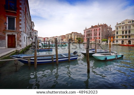 Boats on the Grand Canal of Venice, Italy.