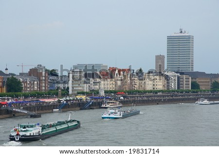 Boats on the Rhine. Dusseldorf. Germany
