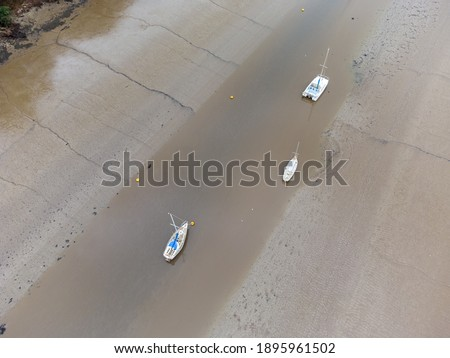 Boats on the river fal at Malpas cornwall England uk aerial from above  Stock fotó ©