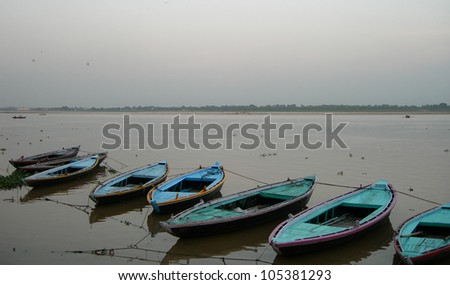 Boats on the river Ganges in the holy city of Varanasi, India