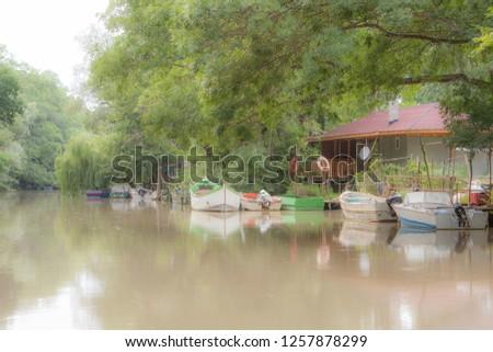 Boats on the river Kamchiya, summer 2013, Bulgaria #1257878299