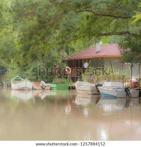 Boats on the river Kamchiya, summer 2013, Bulgaria #1257884152