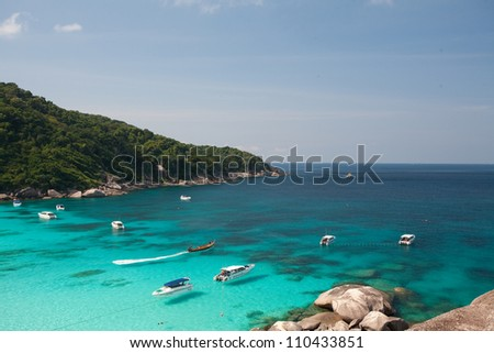 Boats on the water at the Similan Islands