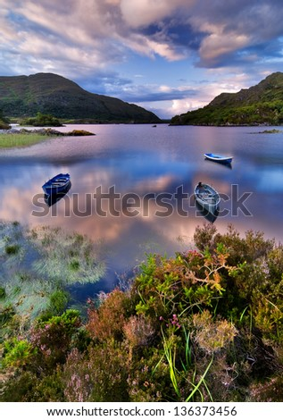 Boats on water in Killarney National Park, Republic of Ireland, Europe