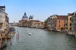 Boats sailing along Venice Grand Canal