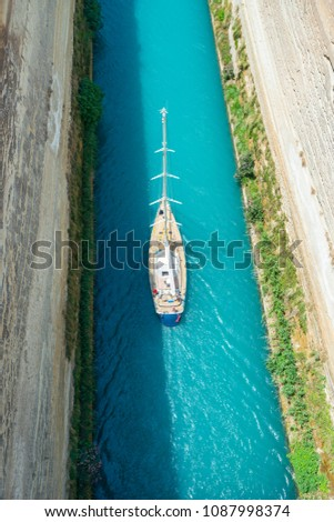 boats through the Corinthian canal