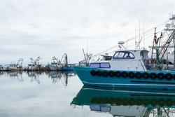 Boatyard, with Fishing Boats in the Gulf of Mexico at Fulton, Texas, USA