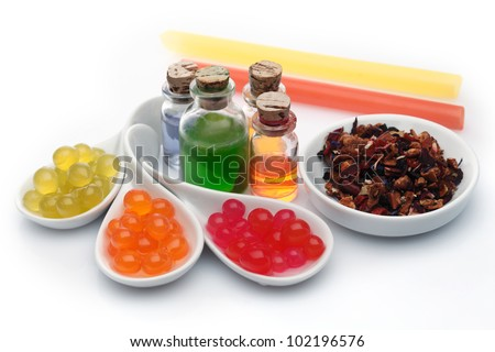 Boba bubble tea ingredients arrangement with assorted syrup and pearls #102196576