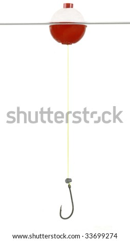 Bobber, line and hook isolated on white