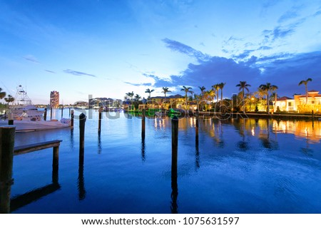 Boca Raton homes reflections at night, Florida.