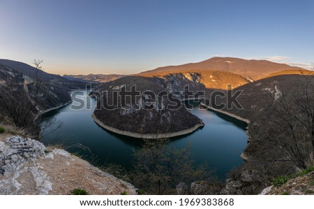 Bocac artificial lake in the canyon of the river Vrbas between the Manjaca and Cemernica mountains Stok fotoğraf ©