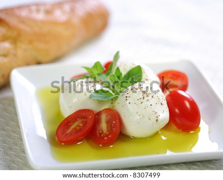 Bocconcini cheese with fresh baby tomato, olive oil and baguette bread