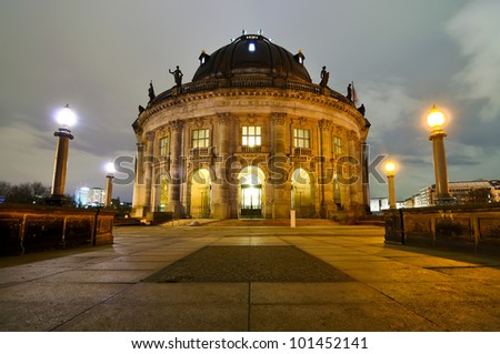 bode museum in berlin, germany, at night