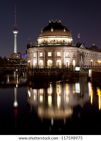 Bode Museum on Museum Island with TV Tower in background, night shot, Berlin, Germany