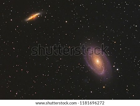 Stock Photo Bode's Galaxy M81,M82 in Ursa Major constellation with Nebula,Open Cluster,Globular Cluster, stars and space dust in the universe and Milky way taken by dedicated astrophotography camera on telescope.