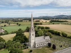 Bodelwyddan Church near the A55 in North Wales. Large spire marble church near LLandudno