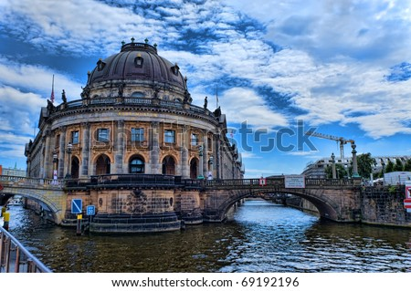 Bodemuseum and the Fernsehturm in the center of Berlin