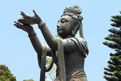 Bodhisattva offering to the Great Buddha at Po Lin Temple, landmark in Hong Kong