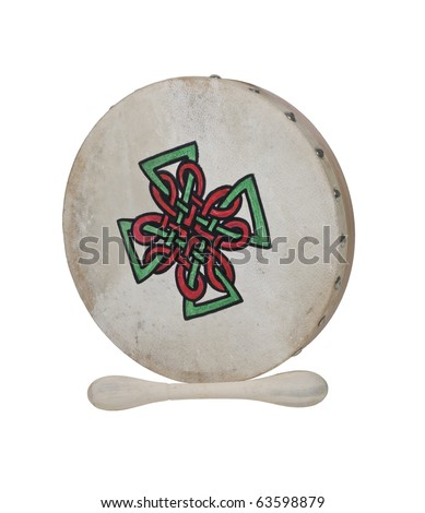 Bodhran Beater Drum with stretched skin over a frame - path included