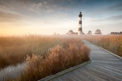 Bodie Island Lighthouse Foggy Boardwalk OBX Cape Hatteras North Carolina in Autumn